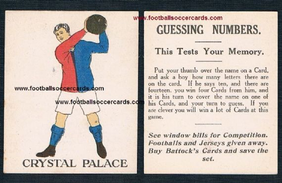 1923 Battocks Crystal Palace LARGE LETTERING Guessing Numbers type back x.rare redemption card